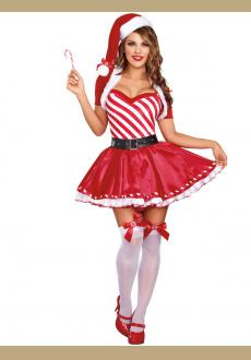 Candy Cane Cutie Costume Womens Sexy Christmas Fancy Dress