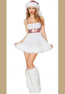 Sexy white Candy cane furry Christmas dress costume