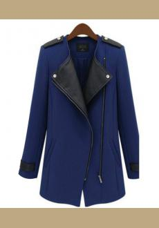 Stylish Lapel Collar PU Leather Splicing Long Sleeves Trench Coats Outerwear