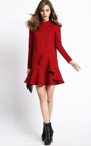 Red High Neck Ruffle...