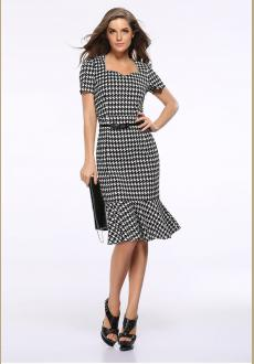 Stylish Houndstooth Printed Short Sleeves Fitted Fishtail Bottom Dress