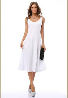 ELEGANT SLEEVELESS WHITE FIT AND FLARED GOING OUT MIDI DRESS