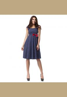 Blue White Polka Dot With Red Bow Sleeveless Tank Dress Ball Gown