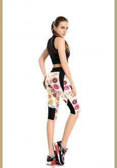 Printing delicious donuts high waisted seven sports pant wholesale