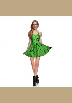 Fashion Sexy Girl Women Summe Prints Reversible Sleeveless Skater Pleated Dress