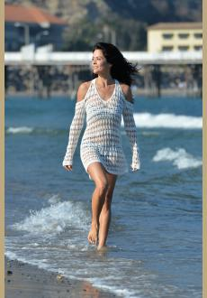 Long Sleeves Cut out Shoulder Crochet Beachwear