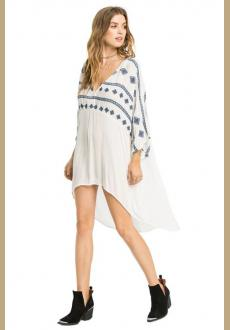 Women's Embroideried Swimsuit Cover Up Tunic Shirts Beachwear