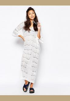 All Over Lace Beach Maxi Dress White Women Beachwear