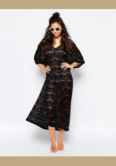 All Over Lace Beach Maxi Dress Black Women Beachwear
