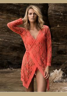 Tropical Orange Tie up Long Sleeves Lace Bathing Suit Beachwear