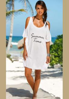 Summer Time White Cold Shoulder Casual Shirt Dress