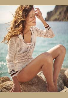 Sexy Beach Cover up Crochet Striped Swimwear Dress