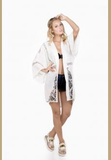 Chiffon Lace Embroidered Two Side Holiday Beach Sunscreen Blouse Beach Cover Up