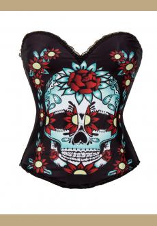 Sugar Skull Corset Top Multi Colour With Skull & Flowers