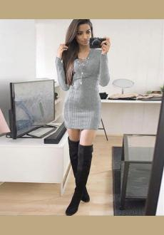 Womens Long Sleeve Knitwear Bodycon Cocktail Evening Party Sweater Mini Dress
