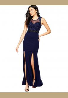 Newest Hot Sale Women Sexy Mesh Backless With Slit Long Evening Dress Dark Blue