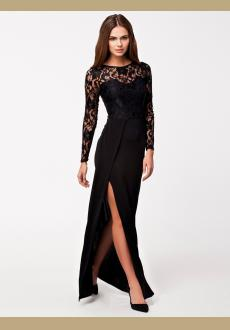 Thigh High Slit Long Sleeve Lace Maxi Dress