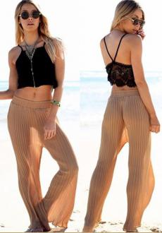 Sexy Khaki Strip Pattern Decorated Loose Design Beach Pants