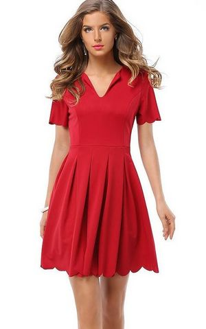 Red Scalloped Hem Zi...