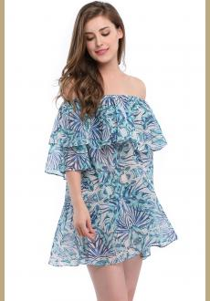 Women Summer Sexy Lovely Floral Print Strapless Off the shoulder Lace up Loose A line Halter Long Sleeve Beach Cover Up
