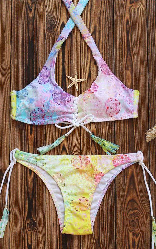 Multi Halter Ombre Lace Up Two Piece Bikini Swimsuit