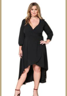 Ruffle Wrap Plus Size Hilow Dress