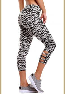 Light Monochrome Print Crisscross Detail Leggings