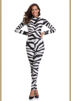 Sexy Halloween zebra cowgirl Print Catsuit Party Fancy Dress Jumpsuit playsuit