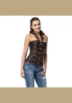 Brown Collar Zipper Steampunk Corzzet Trainer Overbust Waist Corsets