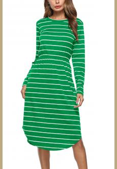 Casual Round Neck Long Sleeves Striped Pocket Midi Dress
