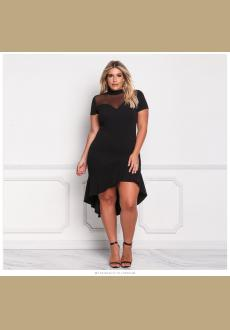 Plus Size Ruffle Hi-Lo Mesh Trim Dress