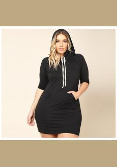 Plus Size Women's Autumn Short Sleeve Dresses Casual Black Red Slim Sexy Long Sleeve Mini Hoodie Dress