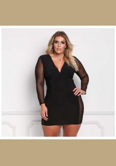 Women's Sexy V Neck Mesh Long Sleeves Autumn Plus Size Women's Dress