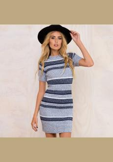 2017 Short Sleeved Slim Gray Mini Women's Sexy Bandage Bodycon Dresses Sweater