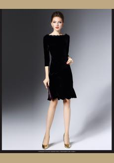 Black  Sleeve Velvet Flounce Bateau boat Neck Midi Dress