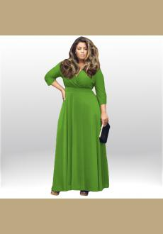 Women Long Knitwear V Neck Plus Size Bridesmaid Dress with Long Sleeve