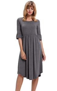 Gray Ruffle Sleeve M...