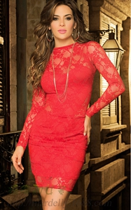 Red Plain Lace Hollo...