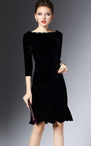 Black  Sleeve Velvet...