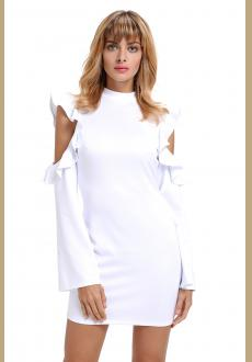 White Cold Shoulder Ruffle Long Sleeve Bodycon Dress