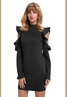 Black Cold Shoulder Ruffle Long Sleeve Bodycon Dress