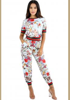 Light Blue Red Floral Print Two Piece Jogger Set