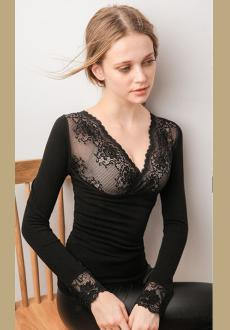 Lace V-neck double-layer thermal  underwear long-sleeved winter underwear set