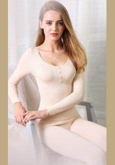 Ladies Lace Thermal Underwear Sets Long Sleeve Trousers Winter Solid Color Thin Section Underwear