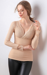 Lace V-neck double-l...
