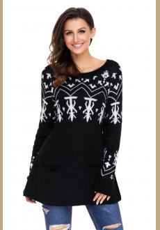 Black A-line Casual Fit Christmas Fashion Sweater