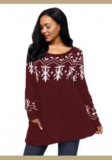 Burgundy A-line Casual Fit Christmas Fashion Sweater