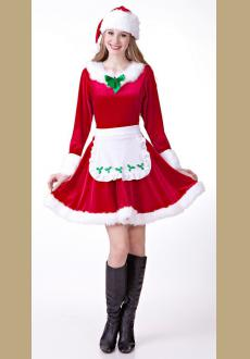 Sexy Women Santa Costume Adult Cosplay Christmas Costume Cute Girl Christmas Party Fantasy Dress Up White Hat  Gown