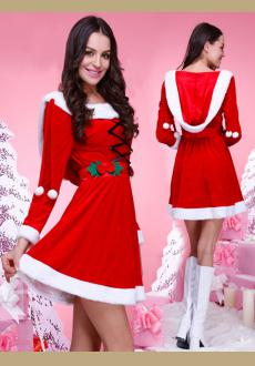 Adult Christmas Costume for Women Red Velvet Fur Dresses Sexy Woman Santa Claus Costume