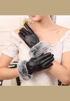 Four Color Womens Winter Touchscreen PU Leather Gloves Thermal Lining Mittens